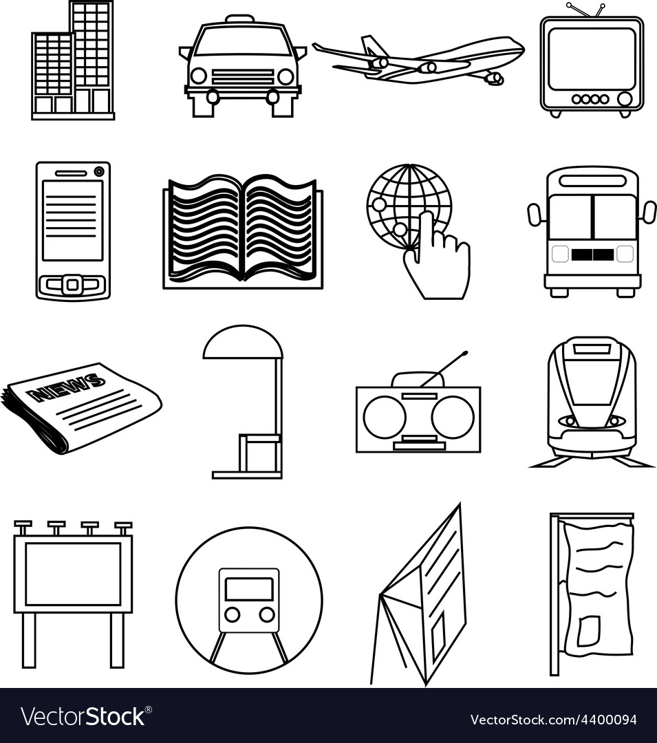 Public transport line icons set
