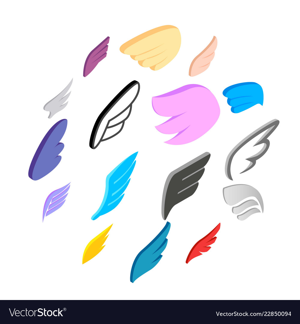Wings icons set isometric 3d style