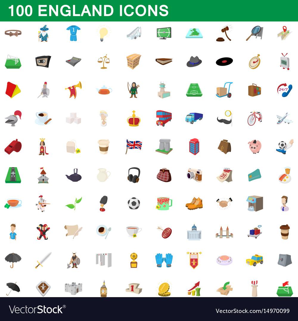 100 england icons set cartoon style