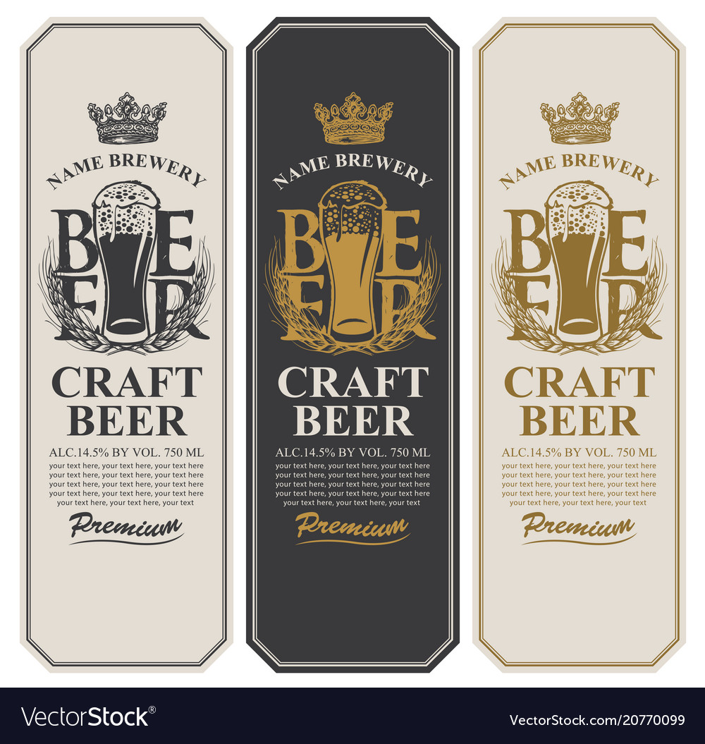 Beer labels with full beer glass and wheat ears