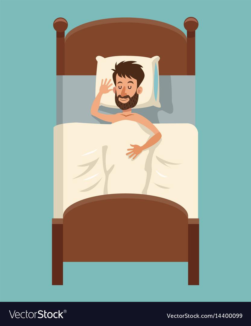 Cartoon beard man sleep covered blanket in bed Vector Image