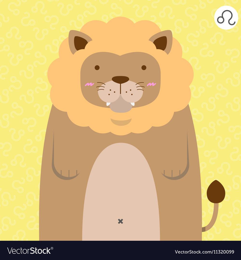 Cute big fat leo zodiac cartoon
