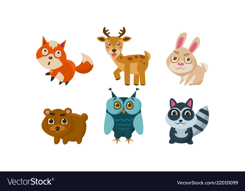 Flat set of cute animals deer red fox