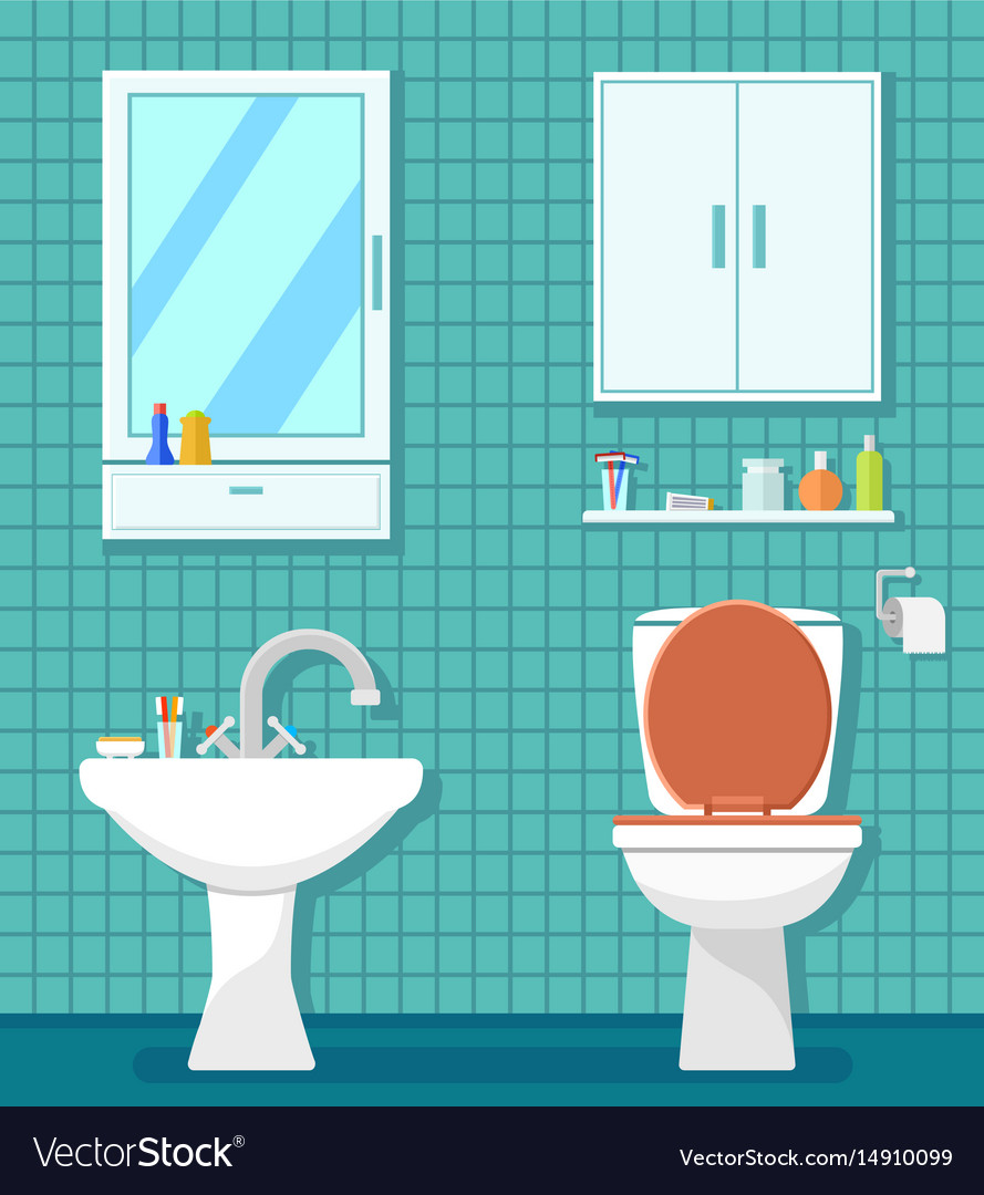 Plumbing Icons For Bathroom Royalty Free Vector Image