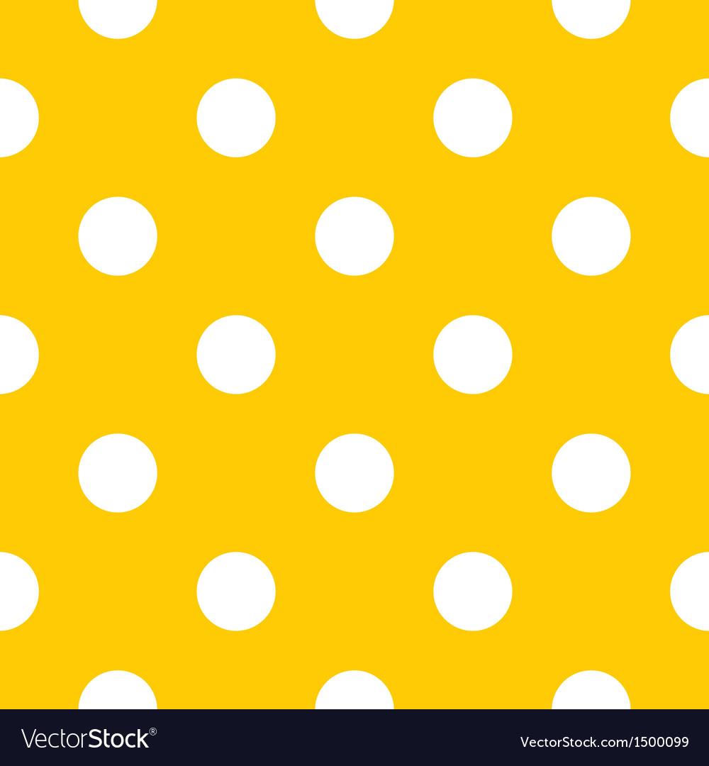 Seamless white polka dots on yellow background