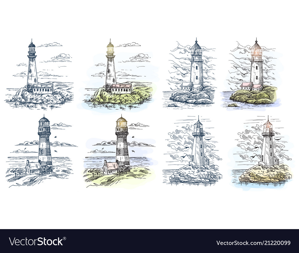 Sketches of lighthouse for sea or ocean banner