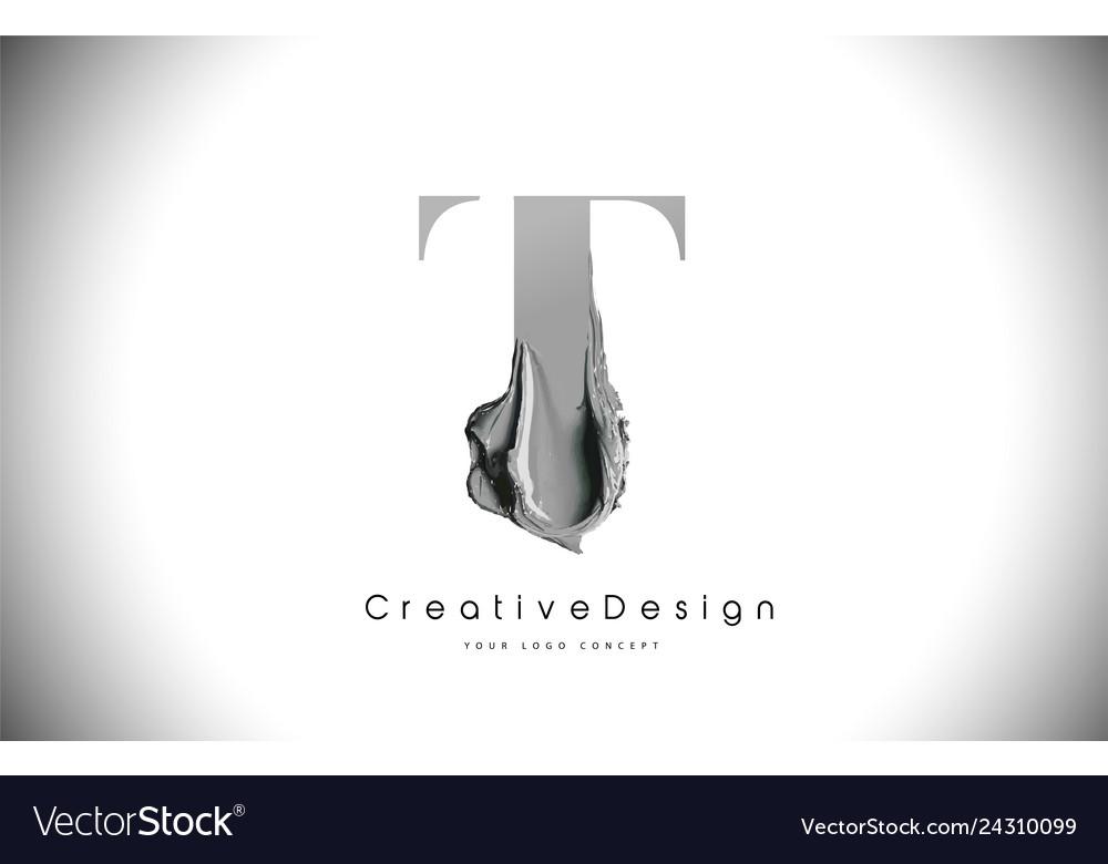 T letter design brush paint stroke black t letter