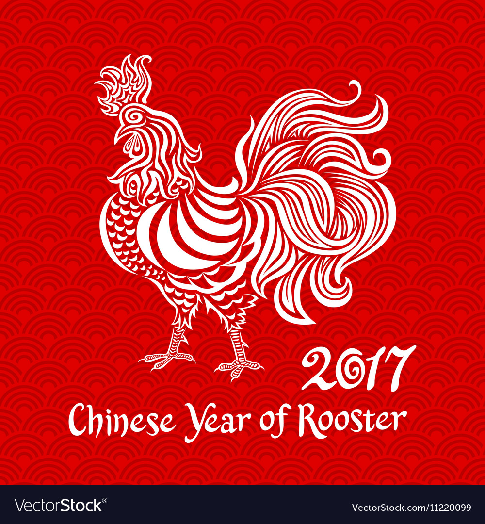 White rooster on red chinese background Chinese