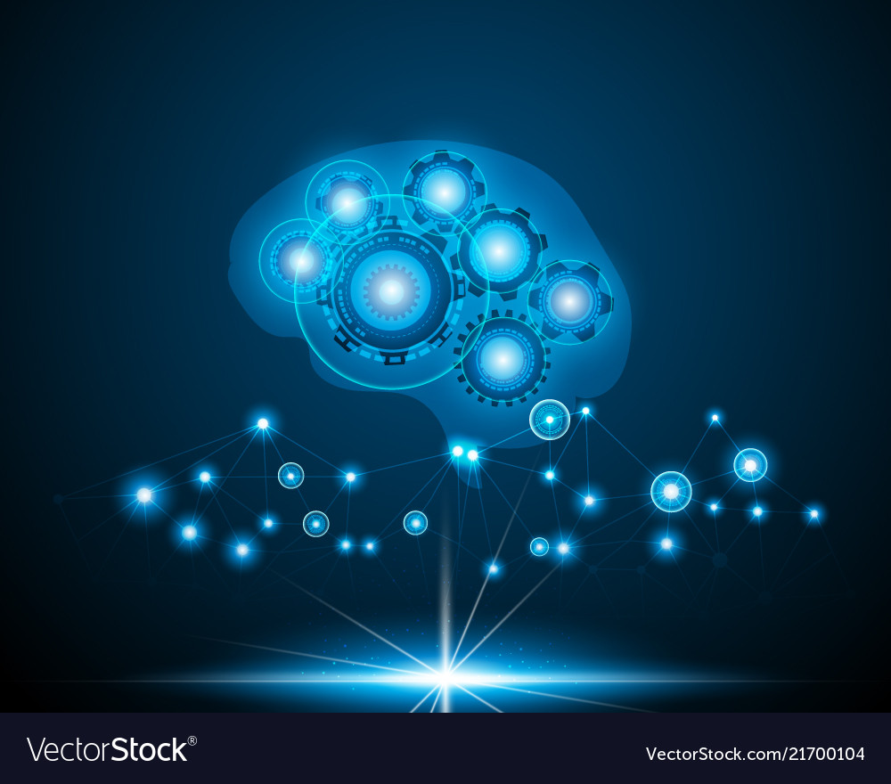 Ai robot brain over blue background Royalty Free Vector