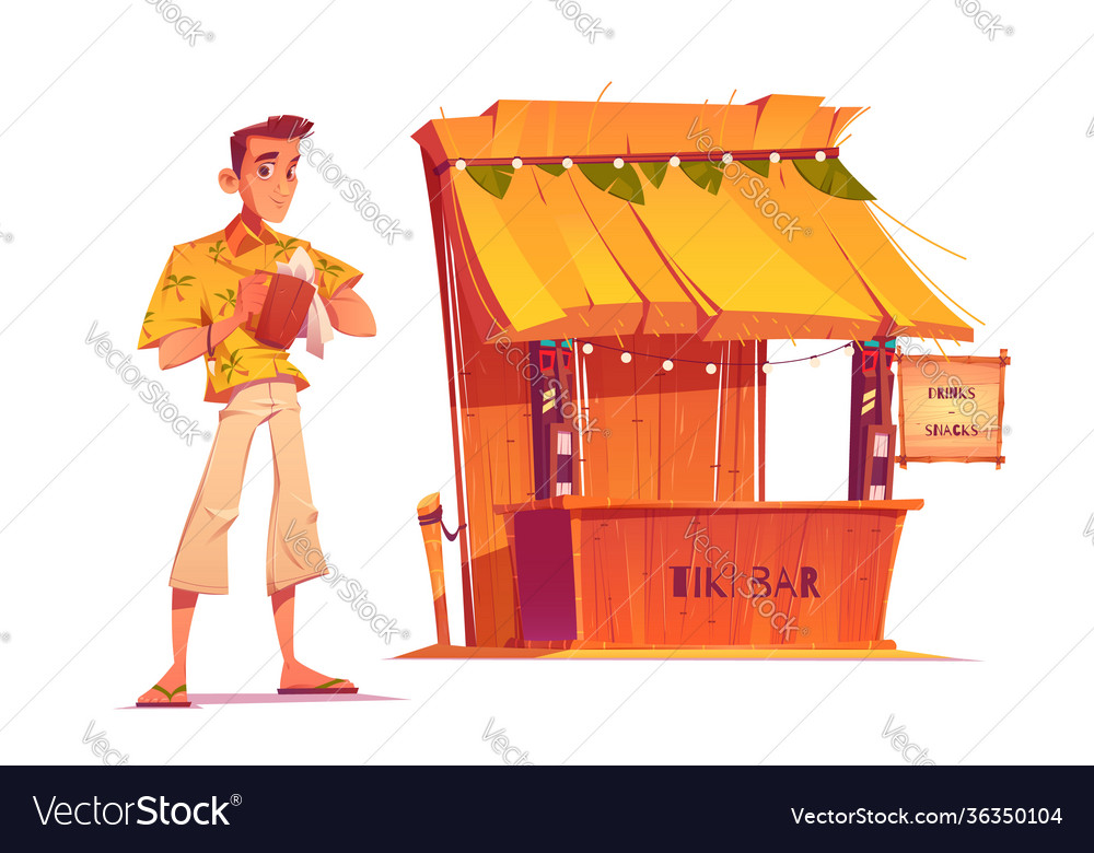 Bartender and wooden tiki bar with tribal masks
