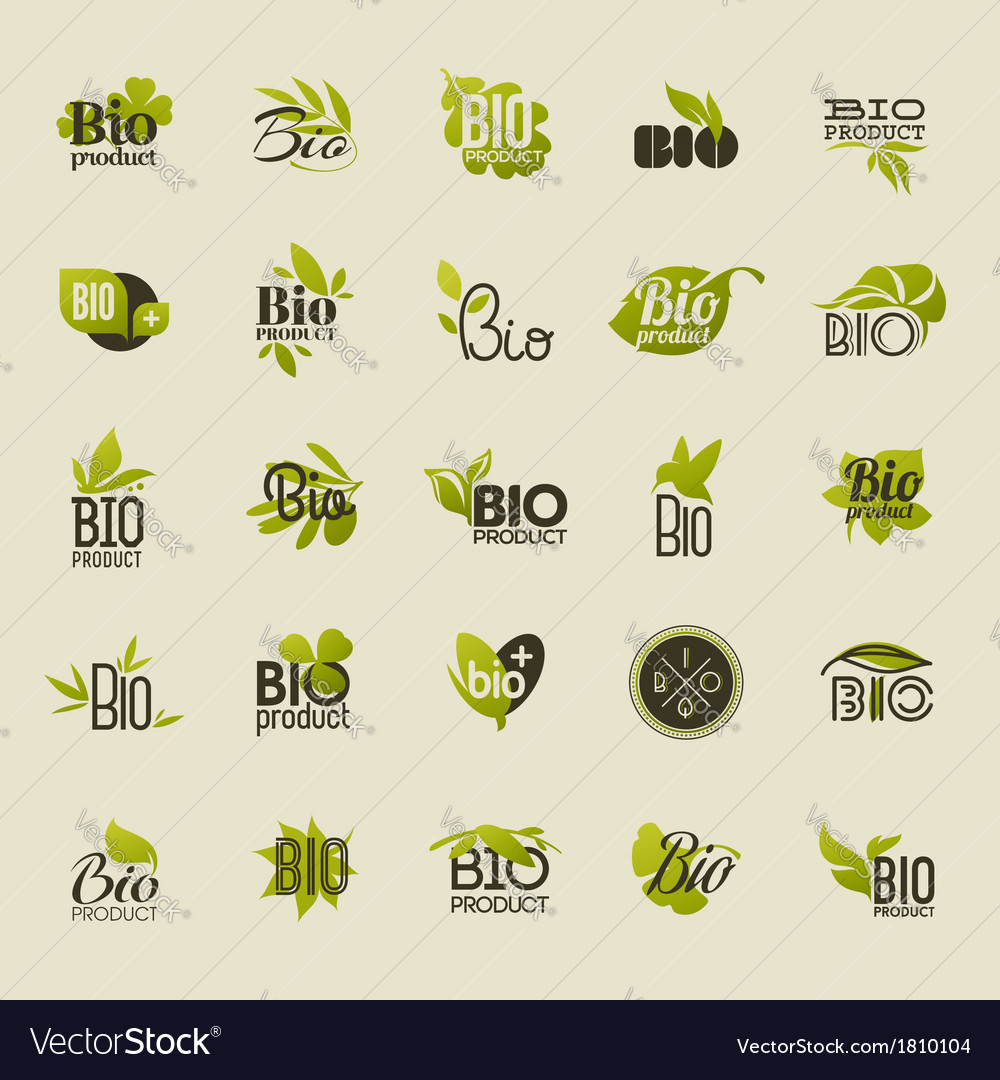 Bio product Set of labels and emblems