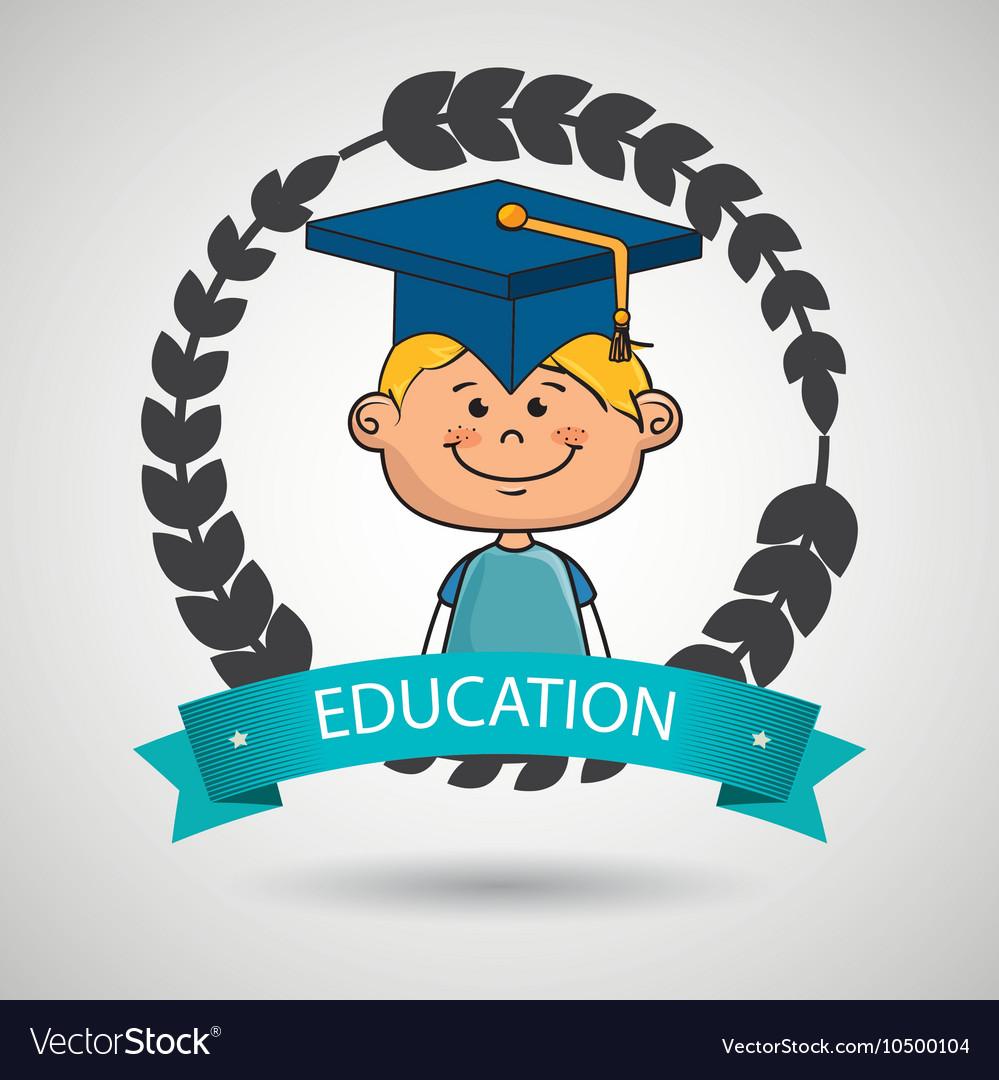 Boy student graduation icon