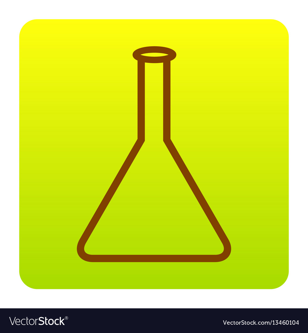 Conical flask sign brown icon at green