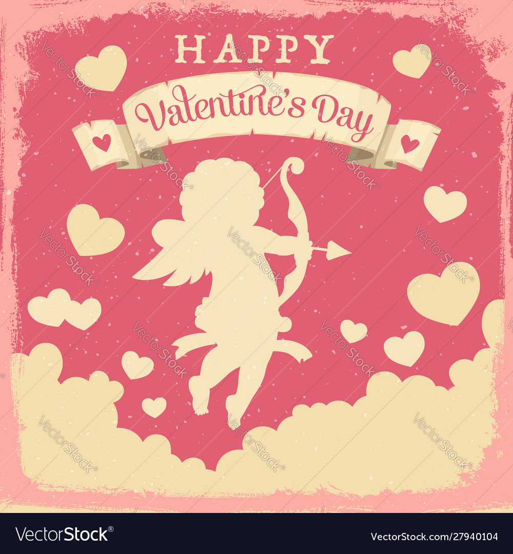 Cupid with hearts and love arrows valentines day