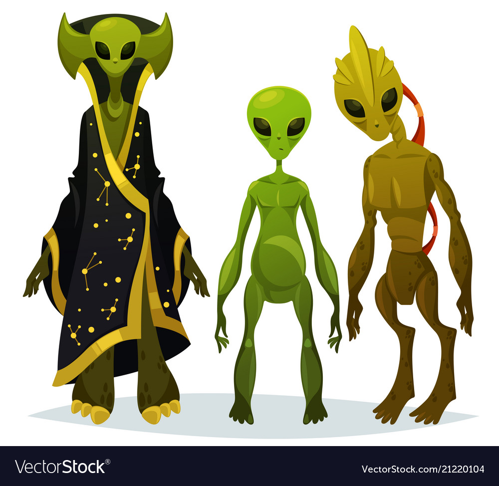Funny cartoon aliens or extraterrestrial invaders