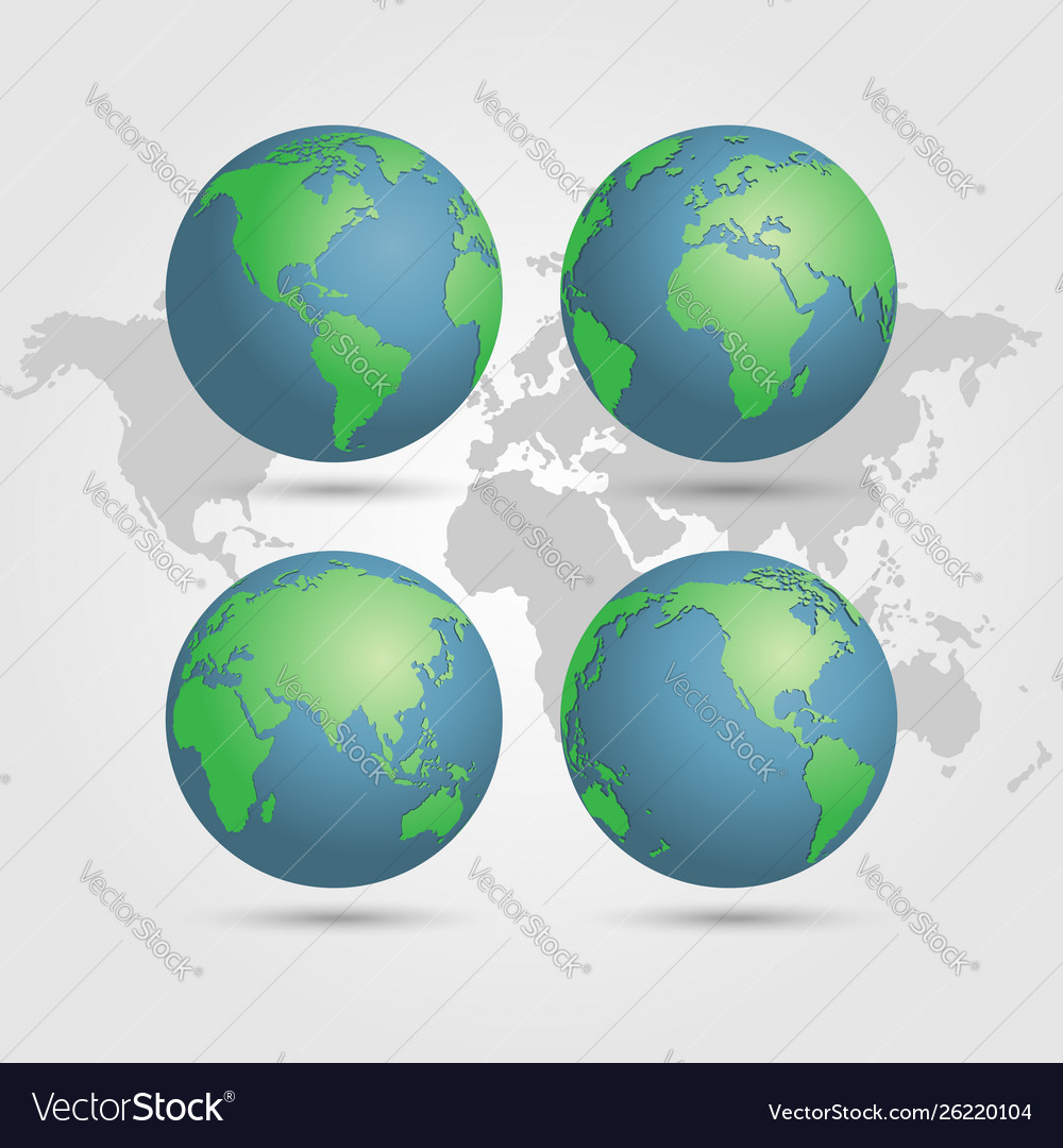Globes earth with world map