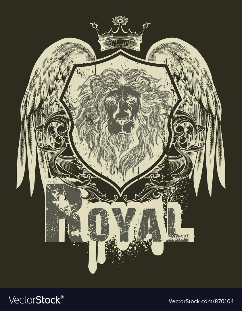 Grunge t-shirt design with shield