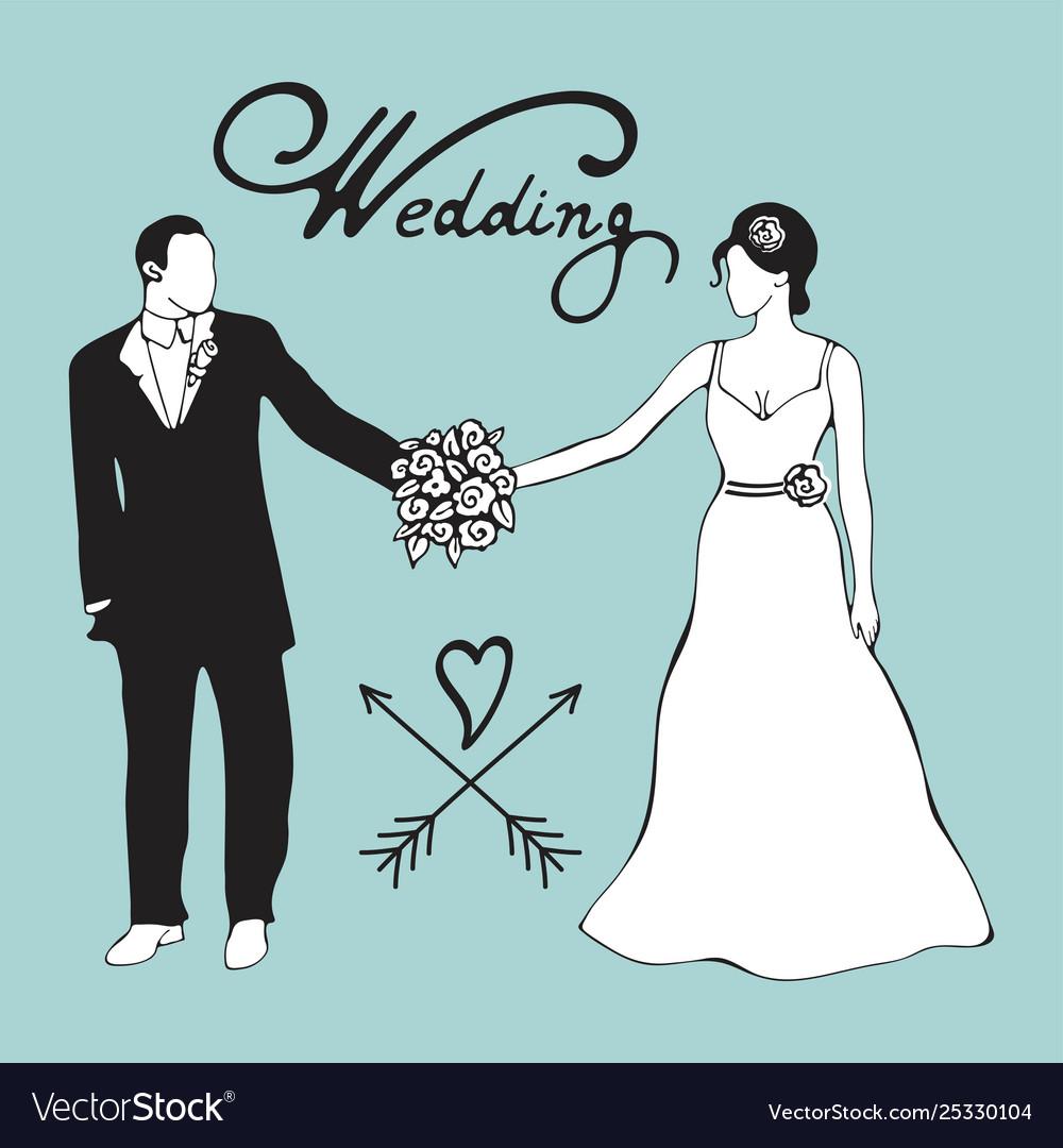 Hand drawn digital bride and gromm