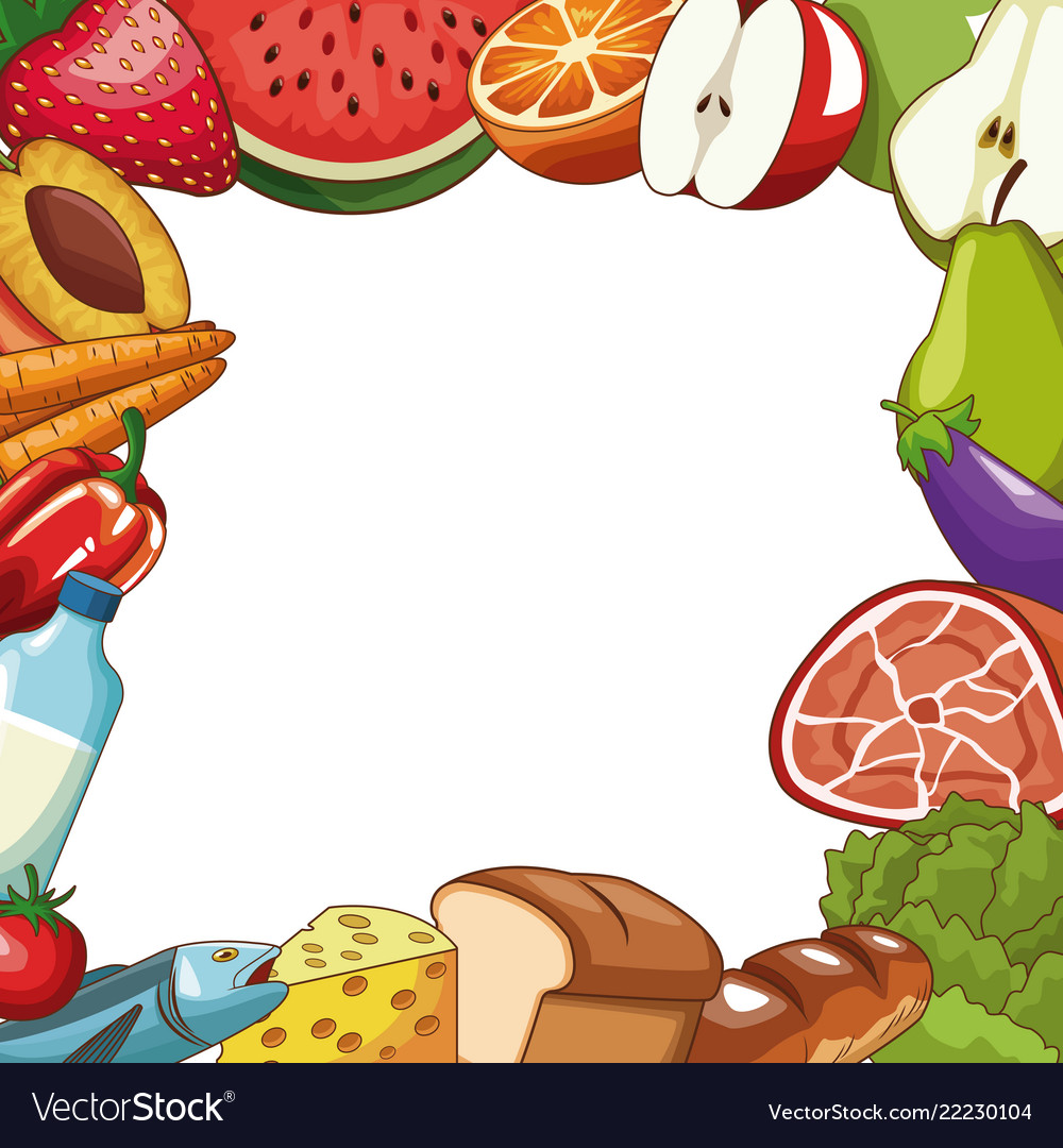 Healthy food frame concept Royalty Free Vector Image