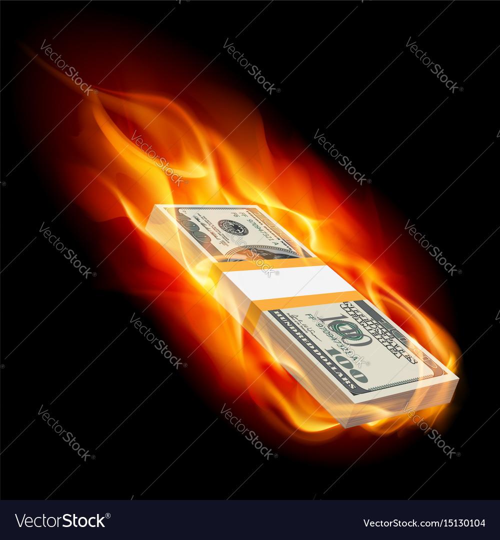 Pile of dollars on fire on black