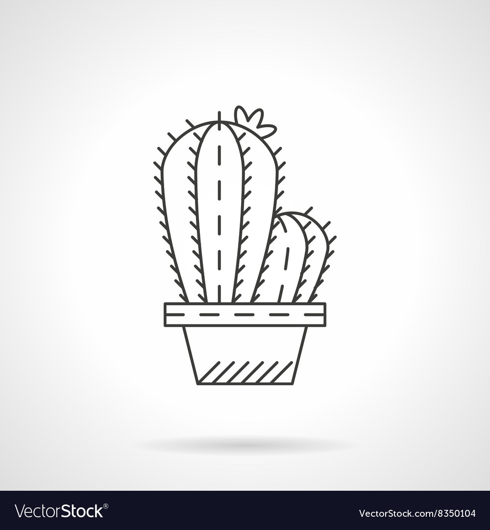 Pot cactus flat line icon
