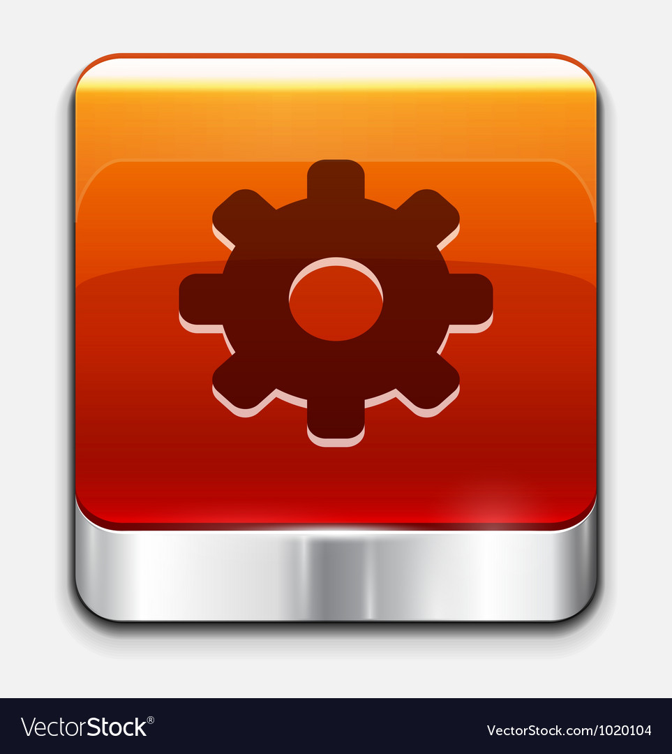 Red glossy settings button icon vector image