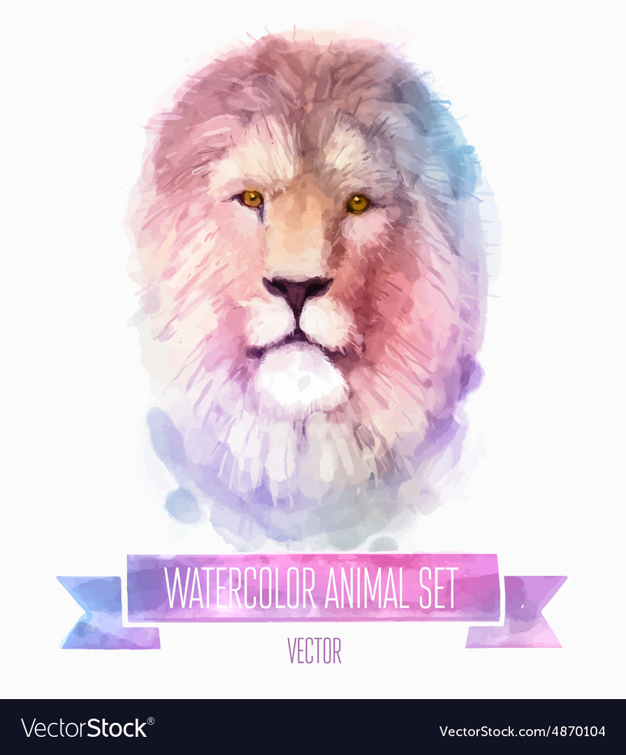 Set of watercolor Cute lion