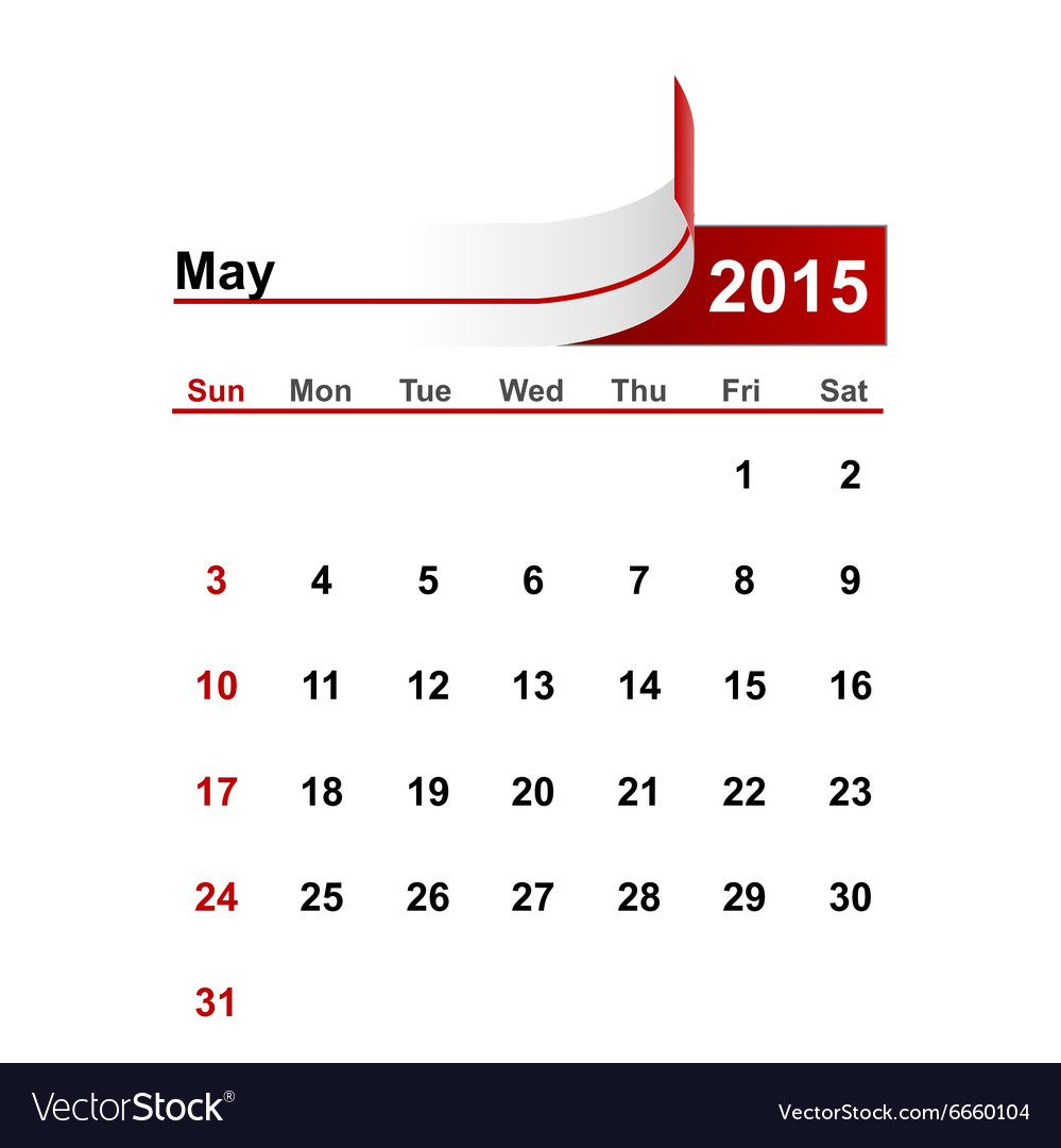 Simple calendar 2015 year may month