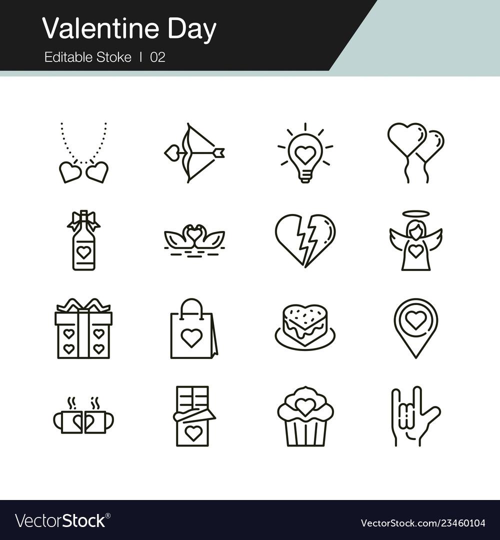 Valentine day icons modern line design