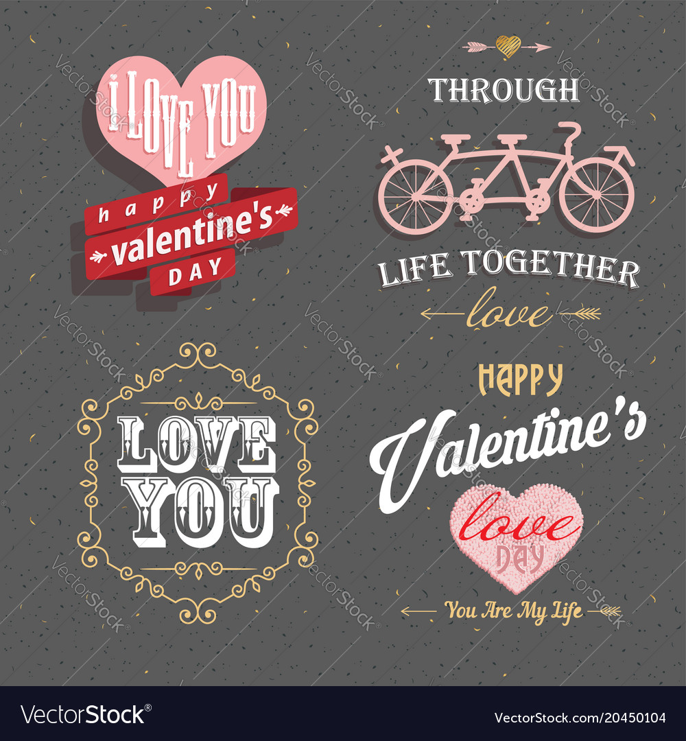 Valentines day set - labels emblems and other