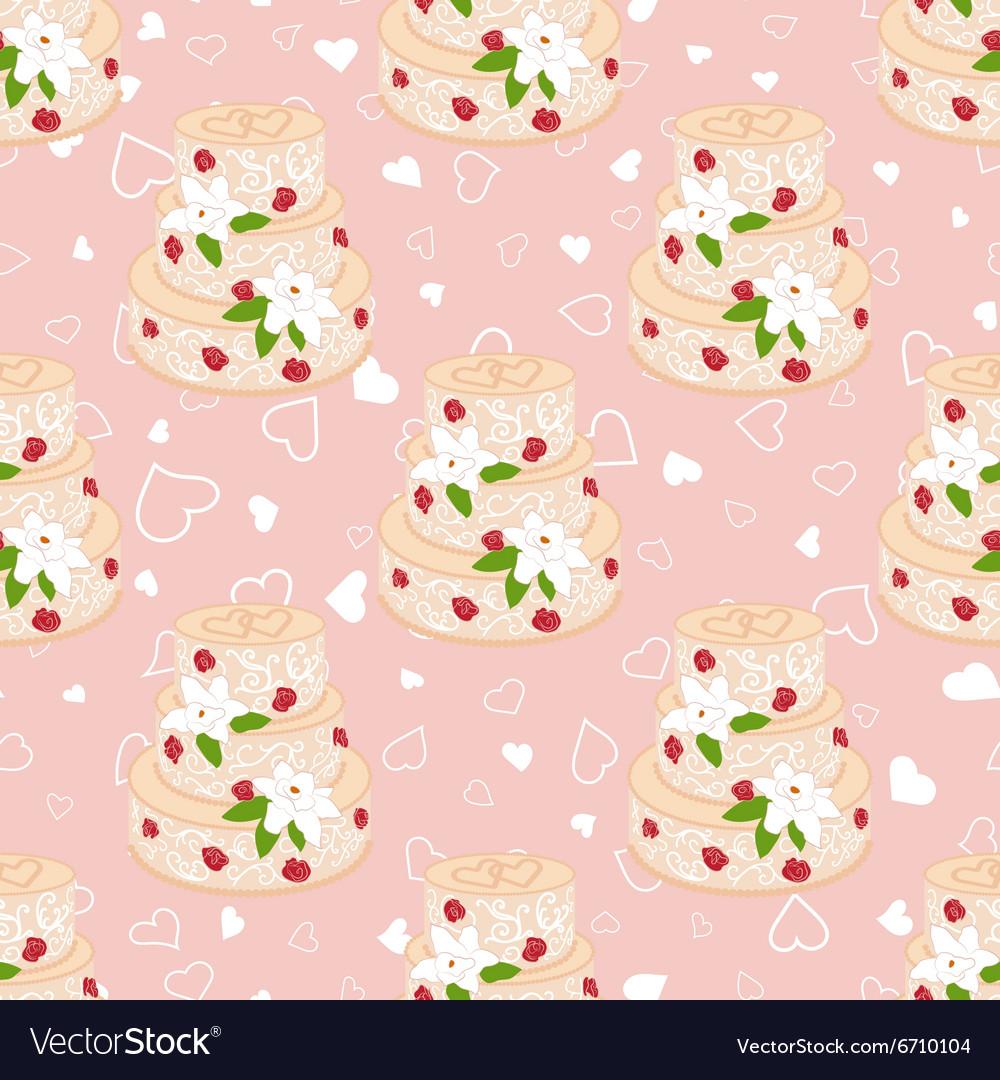 Wedding seamless pattern Cake with cream red