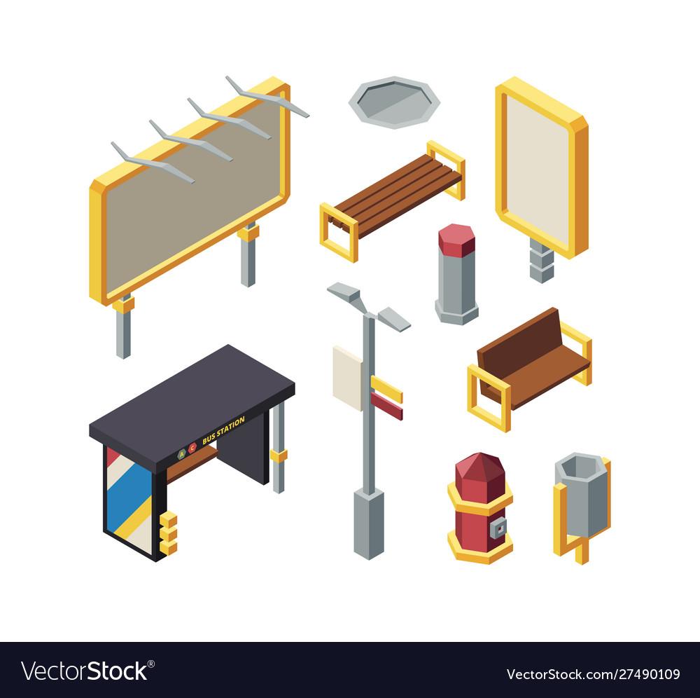Bus station elements isometric