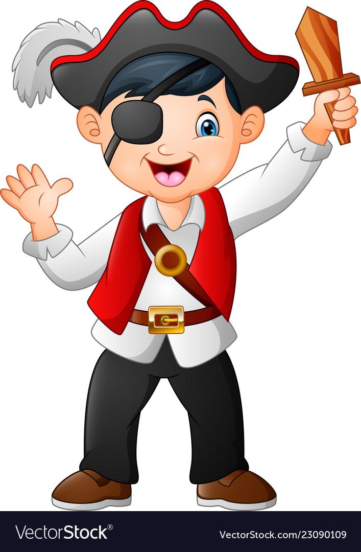Cartoon pirate boy holding a wooden sword