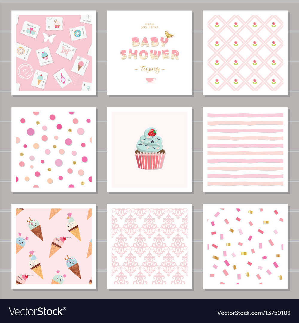 Cute card templates and seamless patterns set