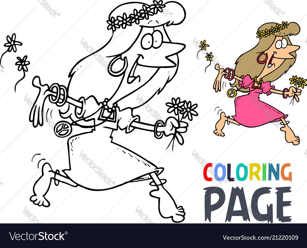 Dance women hula hoop cartoon coloring page