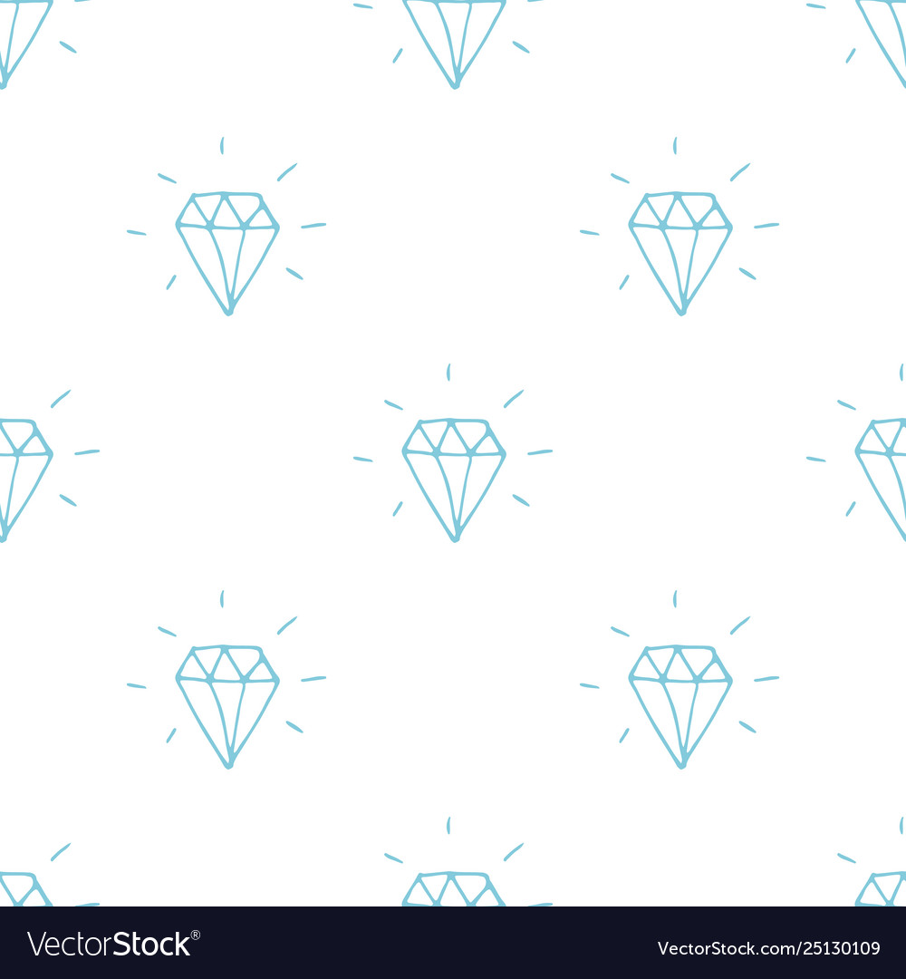 Diamond seamless pattern hand drawn sketched
