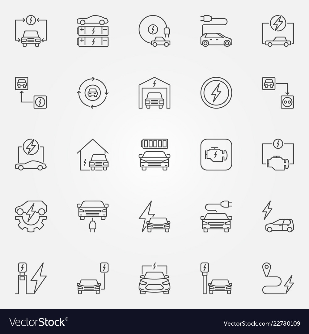 Electric vehicle outline icons set all
