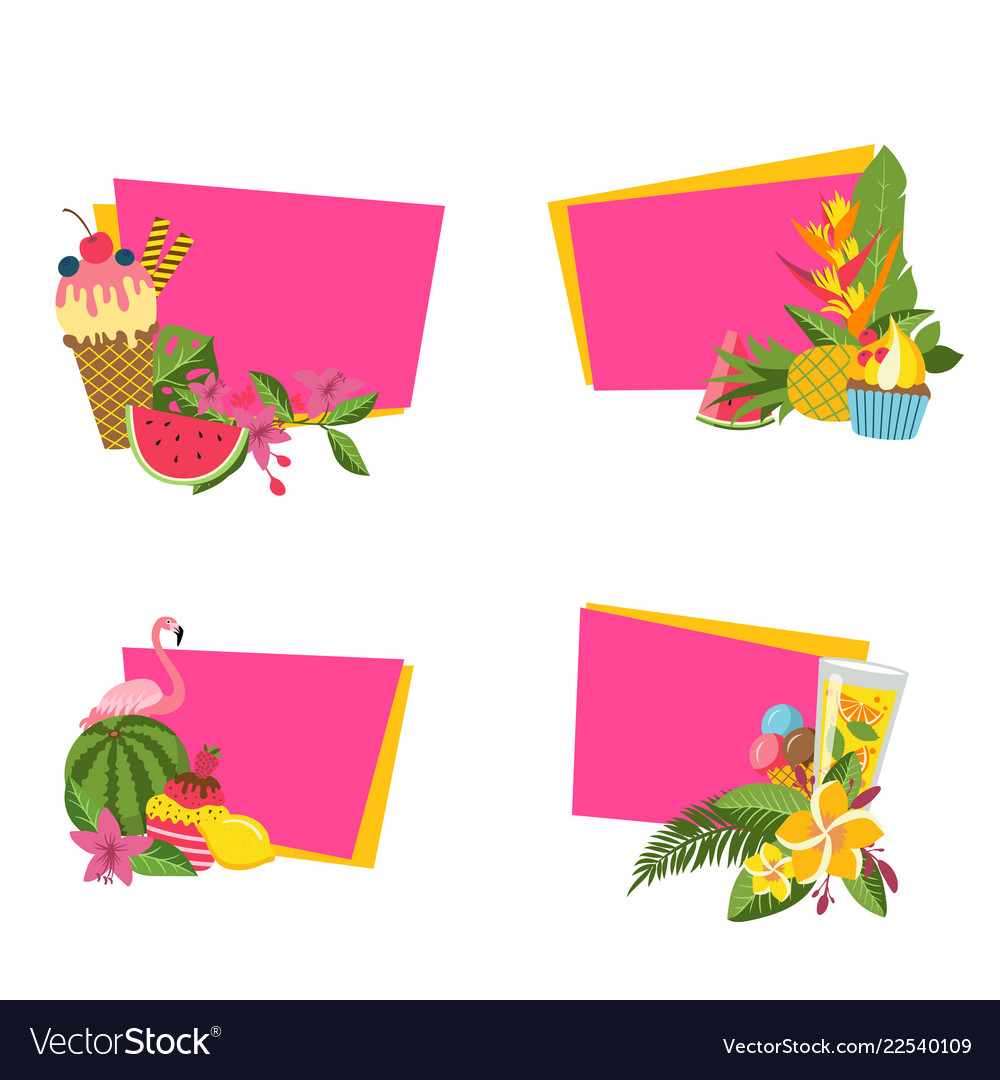 Flat cute summer elements cocktails vector