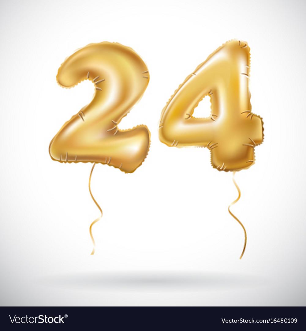 Golden 24 Number Twenty Four Metallic Balloon Vector Image