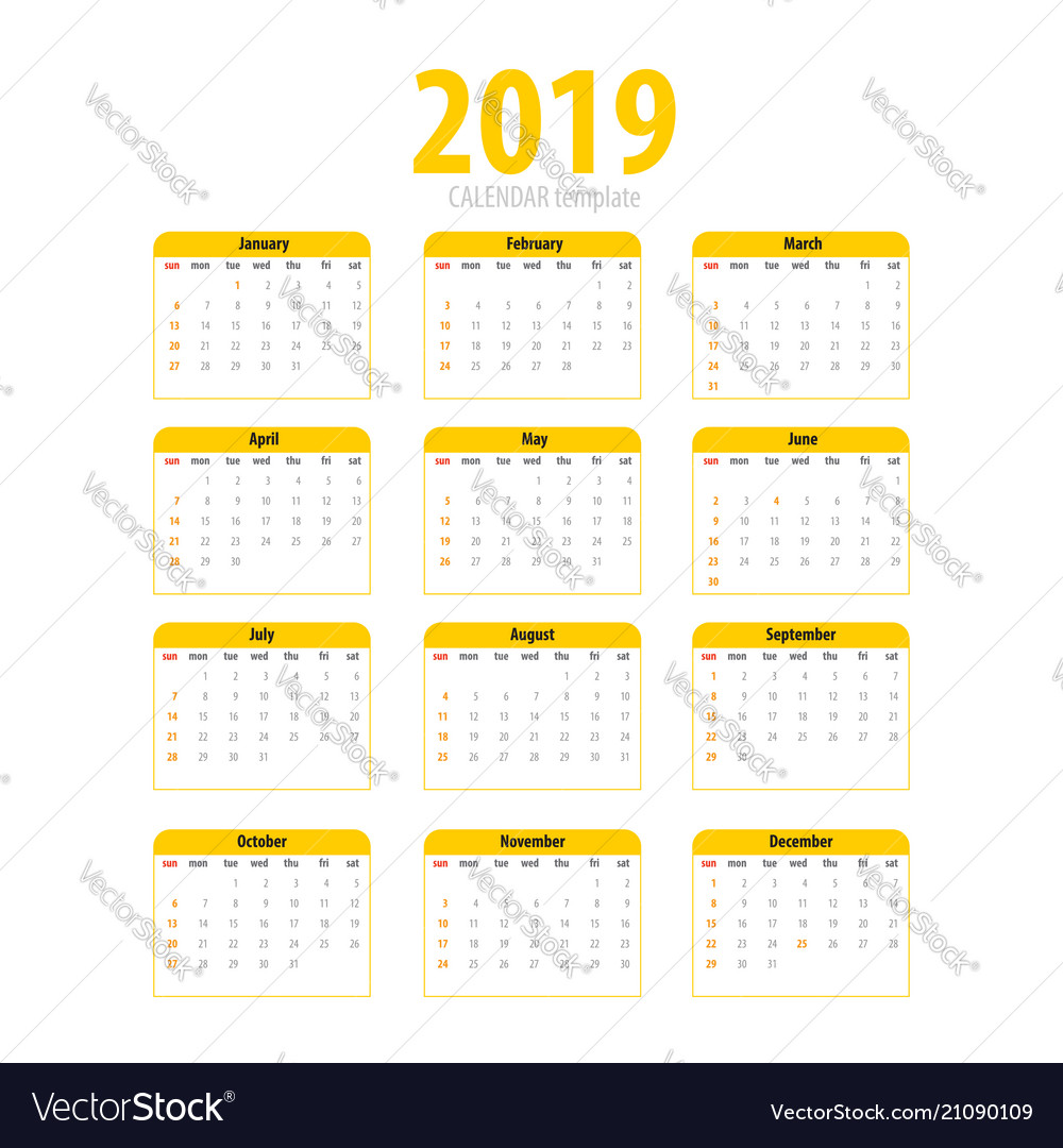 Printable calendar 2019 simple template