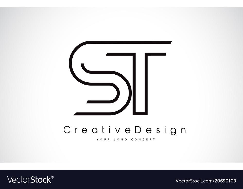 St S T Letter Logo Design In Black Colors
