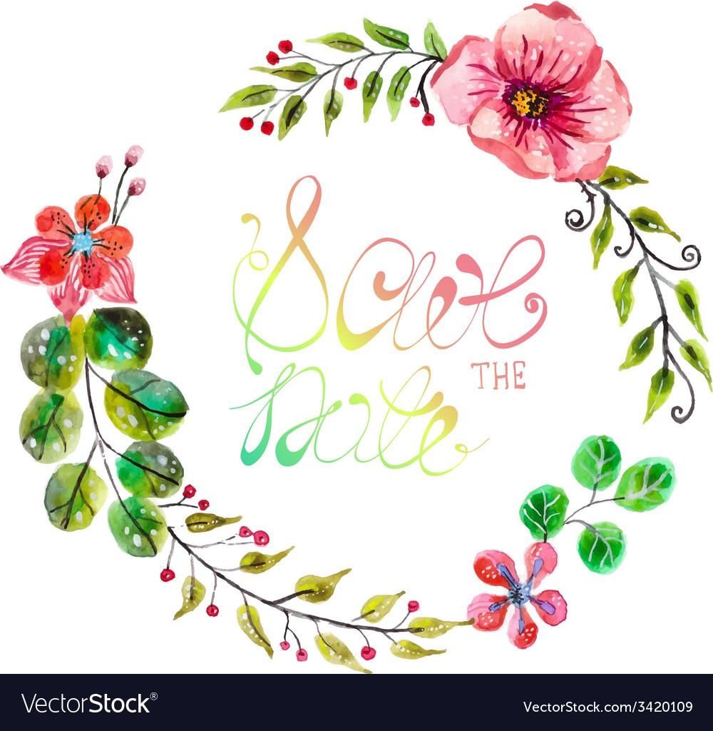 Flowers Vector Design Wedding Invitations Wedding: Watercolor Floral Frame For Wedding Invitation Vector Image