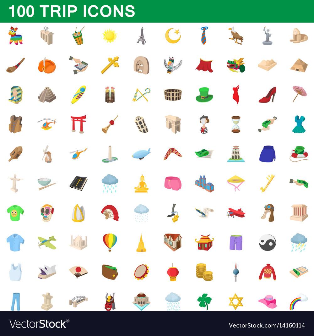 100 trip icons set cartoon style