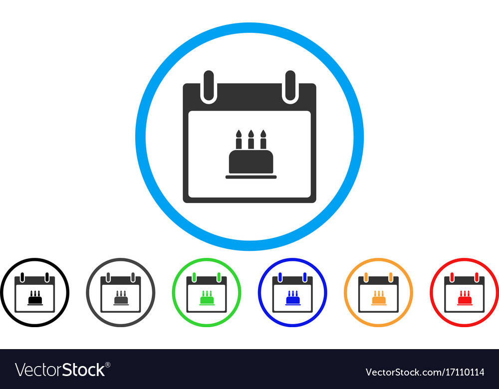 Birthday Cake Calendar Day Rounded Icon Royalty Free Vector