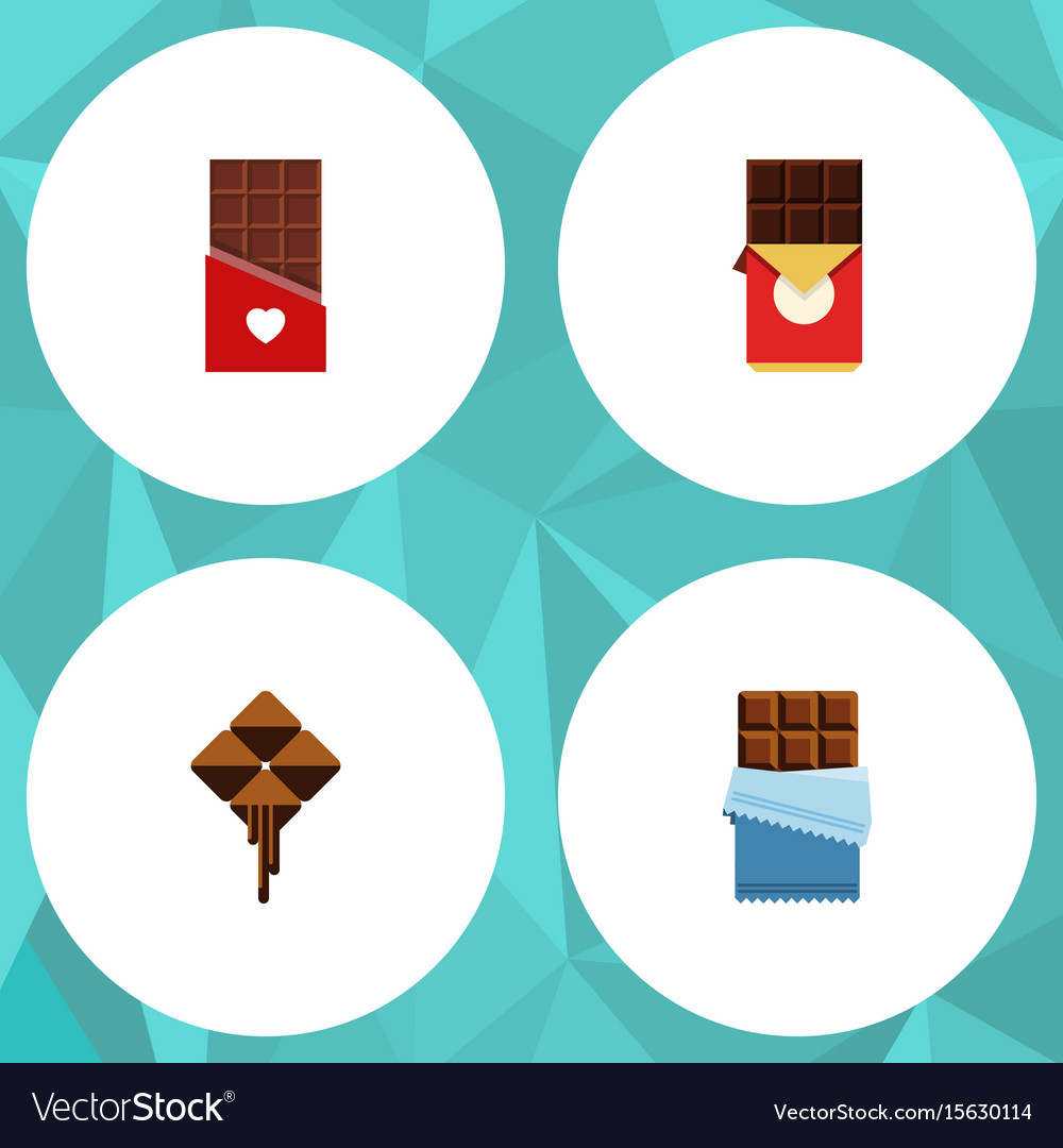 Flat icon sweet set of delicious chocolate bar vector image