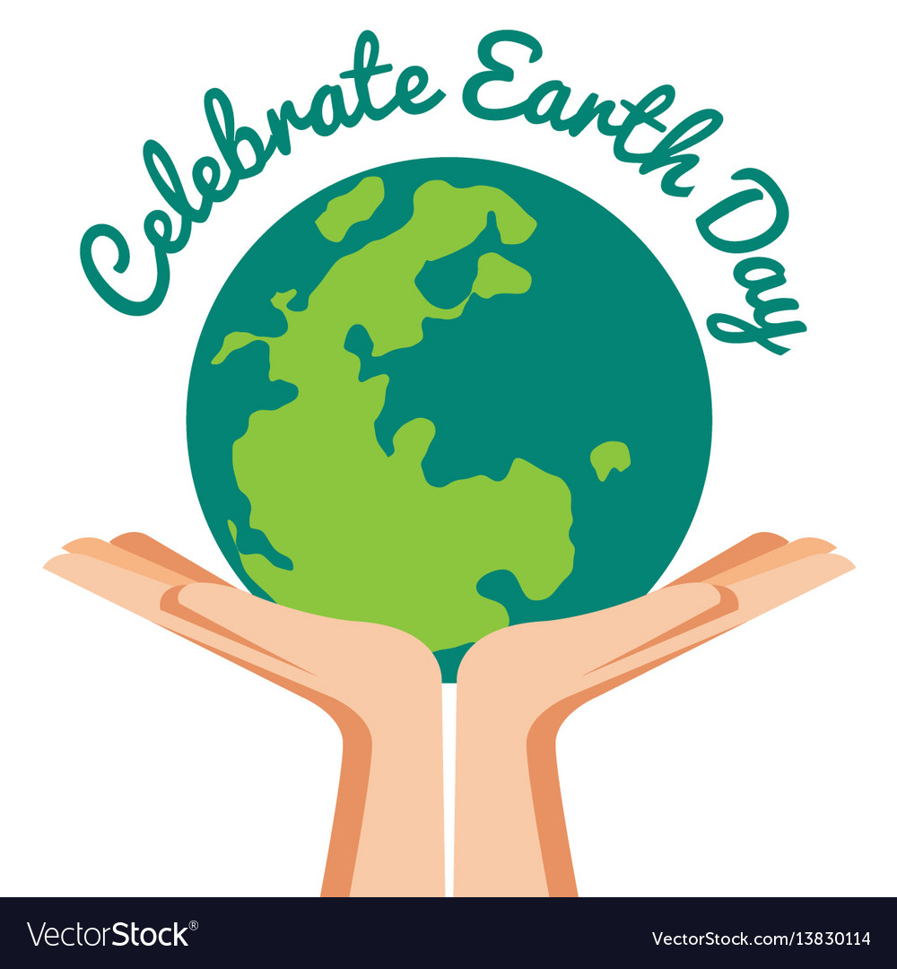 Hand holding world with celebrated earth day text