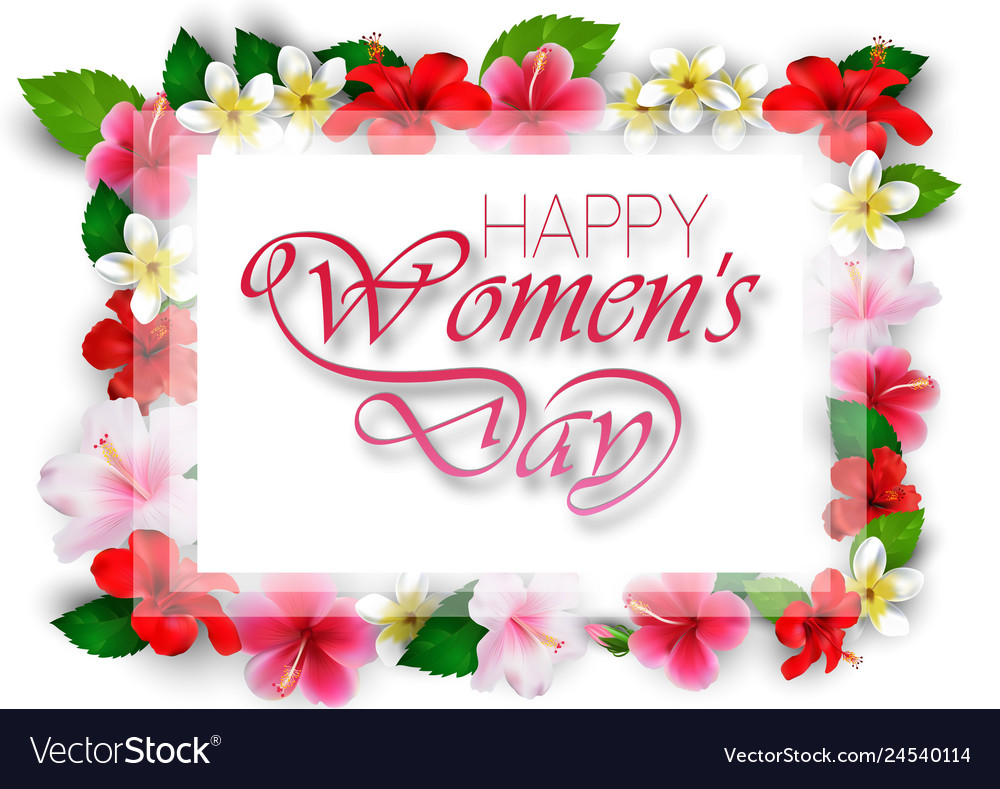 Happy womens day with flowers
