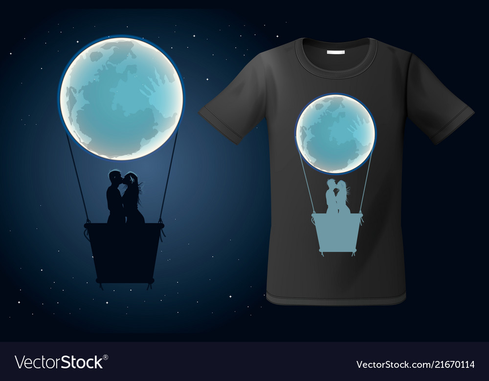 Moon hot air ballon with two kissing people