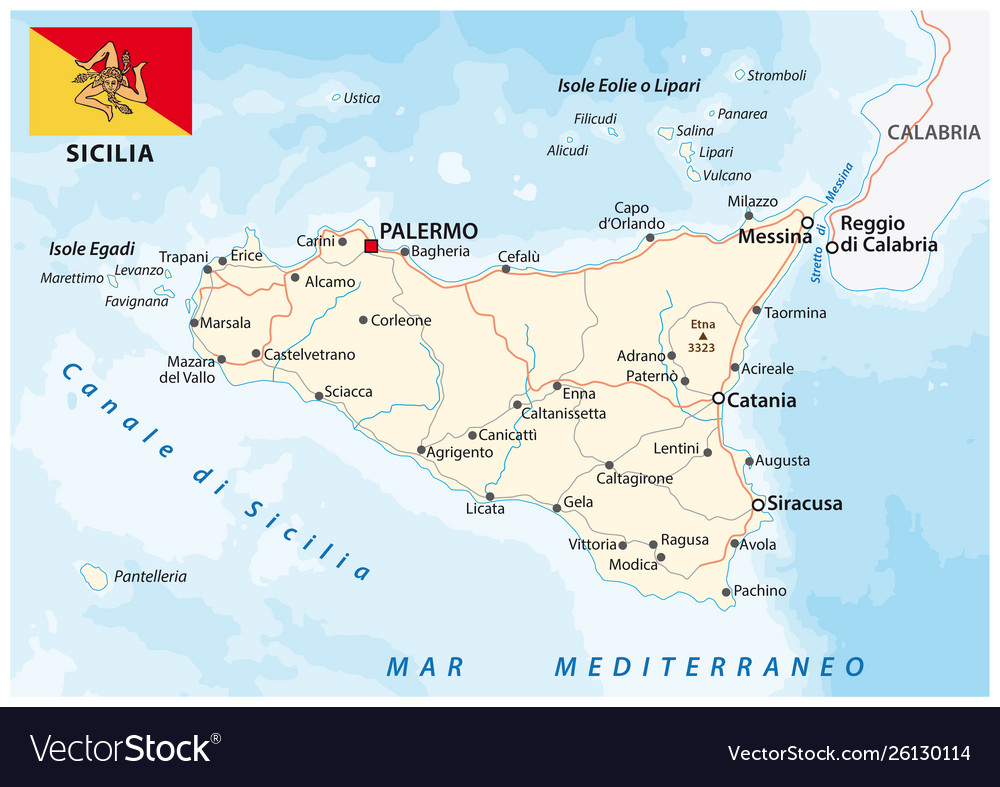 Road map italian island sicily with flag vector image