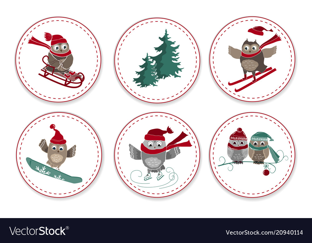 Set greeting labels with cute owls and fir tree